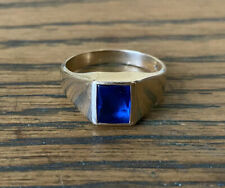 9ct Gold Mens Ring With Sapphire Simulant Signet Ring Size R 1/2