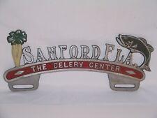 Vintage ORIGINAL 1950s Sanford FLA. Florida License Plate Topper Celery Center