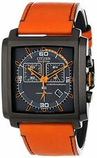 NEW MENS CITIZEN ECO-DRIVE (AT2217-01H) ORANGE LEATHER CHRONOGRAPH MFD 3.0 WATCH