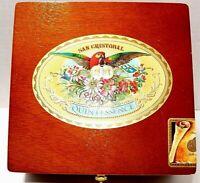 Wood Cigar Box San Cristobal Quintessence 7 x 7 x 3 Square Craft Storage-Pretty!
