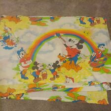 Vintage Disney Mickey Mouse Painting Rainbow Twin Flat Sheet Bedding Clean