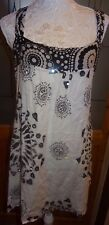 CHILLI PEPPER WHITE/BLACK PRINT LINED STRAPPY DRESS+SEQUINS SIZE L =18 BNWOT