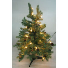 Pre-Lit Artificial Christmas Tree with Red Berries and Pine Cone, Green, 24-Inch