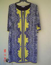 NWT SANDRA DARREN YELLOW NAVY SHIFT DRESS SIZE 18 W WOMEN $89