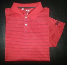 949c M Red Black Stripe ADIDAS Climalite S/S Casual Golf Polo!