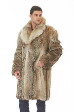 Mens Coyote Fur Coat Jacket Notch Collar