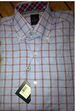 NWT TailorByrd Peri Blue & Red 100% Cotton Plaid Dress Shirt  Flip Cuffs S Small