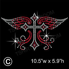 'Gothic Cross' Rhinestone Transfer Hotfix Iron on Motif Appliqué + Free Gift