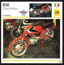 1955 Moto Rumi 125cc Junior Gentleman Italy Race Motorcycle Photo Spec Info Card