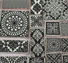 Ceramic Mosaic Tiles - Black Cream Patchwork Damask Medallions Mosaic Tiles
