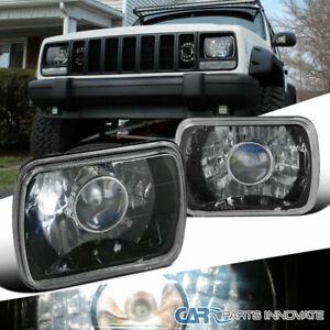 "7""X6"" H6052 Sealed Beam Diamond Cut Black Projector Headlights w/ H4 Bulbs"