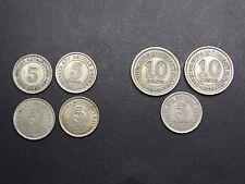 7 monedas 5,10 centavos a partir de 1926 Malasia