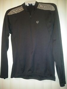 Pearl Izumi BLK Long Sleeve Jersey, Women Med, Quarter Zip, Back Bottle Pockets
