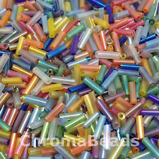 50g Glass Bugle Beads - Mixed Rainbow - Approx 6mm Tubes Jewellery Making