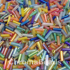 50g vidrio cuentas tubulares Variado Arcoiris aprox. 6mm tubos,