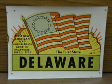 Original Vintage Travel Decal Delaware First State American Flag 13 Star Old Usa