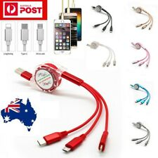 3 in 1 Multi USB Retractable Charger Cable Cord iPhone USB TYPE C Android Micro