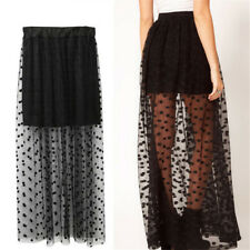Women High Waist Sheer Gauze Mesh Tulle Lace Dots Gothic Long Maxi SkirtDress GS