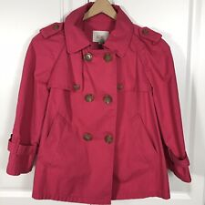 NWT Ann Taylor LOFT Pink Short Cotton Trench Coat Jacket Size XS Fall Casual