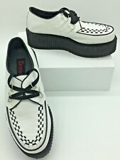 "Demonia V-Creeper 502 Mens White Black Veggie Leather 2"" Platform Shoes Size 8"