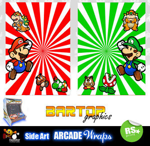 Mario Retro sides Arcade Artwork Bartop Sides Overlay Graphic Stickers