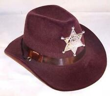 KIDS BROWN VELVET SHERIFF HAT W BADGE cowboy headwear CHILDRENS BOYS hats star