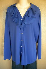 Avenue 26/28 Royal Blue Double Ruffle Button Front Career Shirt Top Blouse