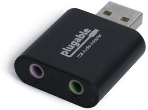 Plugable USB Audio Adapter with 3.5mm Speaker-Headphone & Microphone Jack