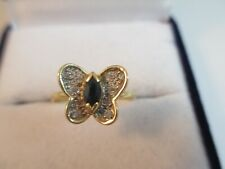FABULOUS VINTAGE 18ct GOLD,SAPPHIRE & DIAMOND BUTTERFLY RING UK SIZE M1/2  1.9g