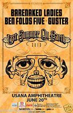 "BARENAKED LADIES/BEN FOLDS ""LAST SUMMER TOUR"" 2013 SALT LAKE CITY CONCERT POSTER"