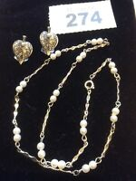 Silver Tone Faux Pearl & marcasite Clip-on Earrings Matched Necklace Vintage 50s