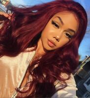 """Glueless Long Wavy Curly Heat Resistant 24"""" Wine Red Synthetic Full Wig Cosplay"""
