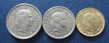 Set Münzen 1981 5, 10 und 20 Rappen Schweizer Franken aus Umlauf für Sammler