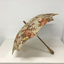 Vintage Wooden Parasol with Floral Design. Handle/Tip Decorated with Insects#110