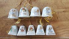 Lot of 9 Vintage Antique Japan Miniature Porcelain Christmas Bell Ornaments