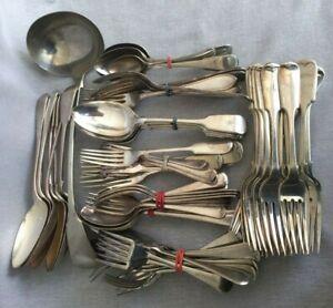 4Kg 72 Piece Lot Antique Cutlery Fiddle Rat Tail Ladle Spoons Forks Kronand Sil.