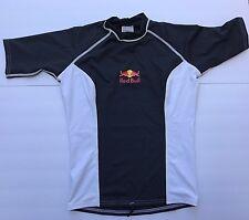 New Women's Red Bull Short Sleeve Rash Guard Shirt Blue White Swimsuit size XS