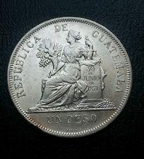 Guatemala 1896 1 peso silver coin. Un peso de Plata . circulated . Nitido