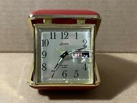 Vintage LINDEN Wind-up Travel Alarm Clock Day Date Red Clamshell Case NM Shape