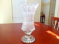 "SUPERB BOHEMIAN CZECH CRYSTAL QUEEN LACE FOOTED VASE 12"" TALL EXCELLENT + COND."