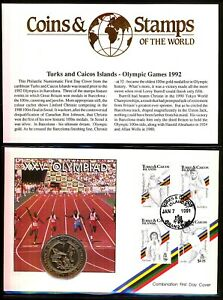 Turks and Caicos Islands 1992 Olympic Games Coin Cover Masterfile PMK 1991