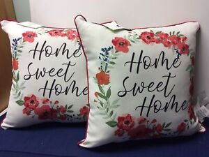 """Outdoor Toss Pillows White/Red With Flowers """"Home Sweet Home"""" Set Of 2 16X16"""