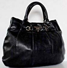 $1798~PRADA Black Soft CALF LEATHER SLOUCHY Gathered BAG~Tote HOBO Silver purse