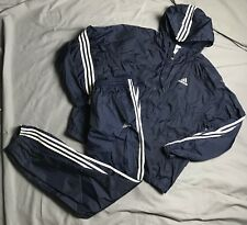 Vintage Adidas Track Suit Large Windbreaker Pants Spell Out Blue L Athletic Gym
