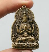 """1.7"""" Nepal Tibetan Buddhism Bronze 4 Arms Kwan-yin Tara Guan Yin Amulet Pendant"""