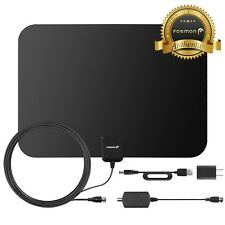 Fosmon [60 Mile] Thin Flat Indoor HDTV Amplified HD TV Antenna 16FT Coax Black