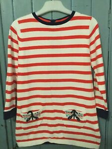 Pretty White & Red Striped Dress - M&S - 3-4 Years - Excellent Condition