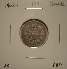 Canada Edward VII 1903H Silver Ten Cents - VG