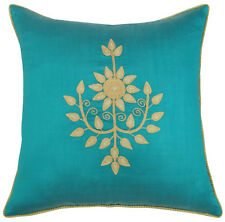 Indian Aqua Blue Floral Embroidered Poly Dupion Square Sofa Pillow Case
