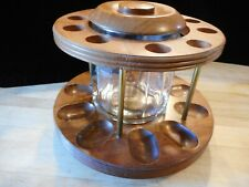 Vtg Decatur Industries 10 PIPE STAND HOLDER Rotating w/Glass Tobacco Jar/Humidr